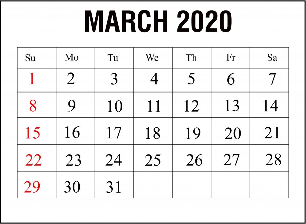 Free Printable March Calendar 2020