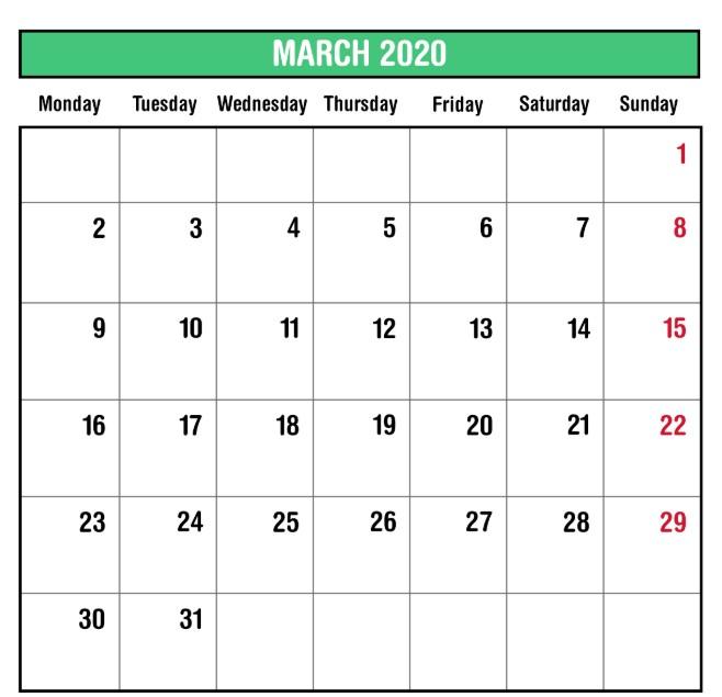 March 2020 PDF Calendar